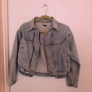 light blue cropped brandy melville jean jacket